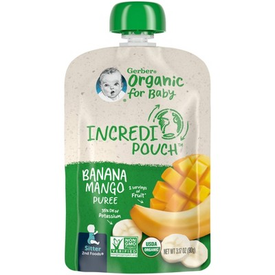 Gerber IncrediPouch Organic Banana Mango Baby Snacks - 6oz