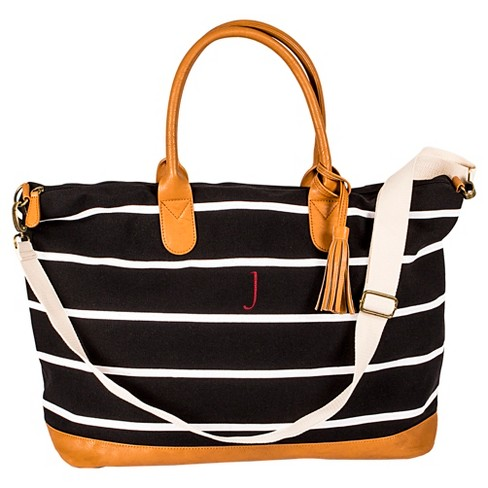 Women s Monogrammed Black Striped Oversized Weekender Bag - Cathy s Concepts 5308ffae72439
