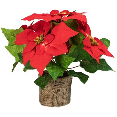 """Northlight 11"""" LED Artificial Red Poinsettia Potted Plant - Clear Lights"""