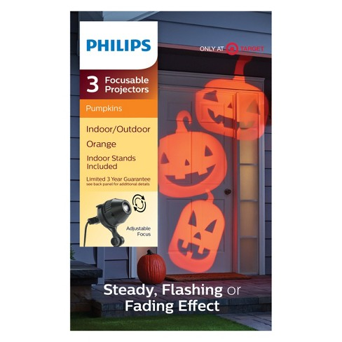 philips 3ct halloween led focusable projector with fade orange pumpkins target