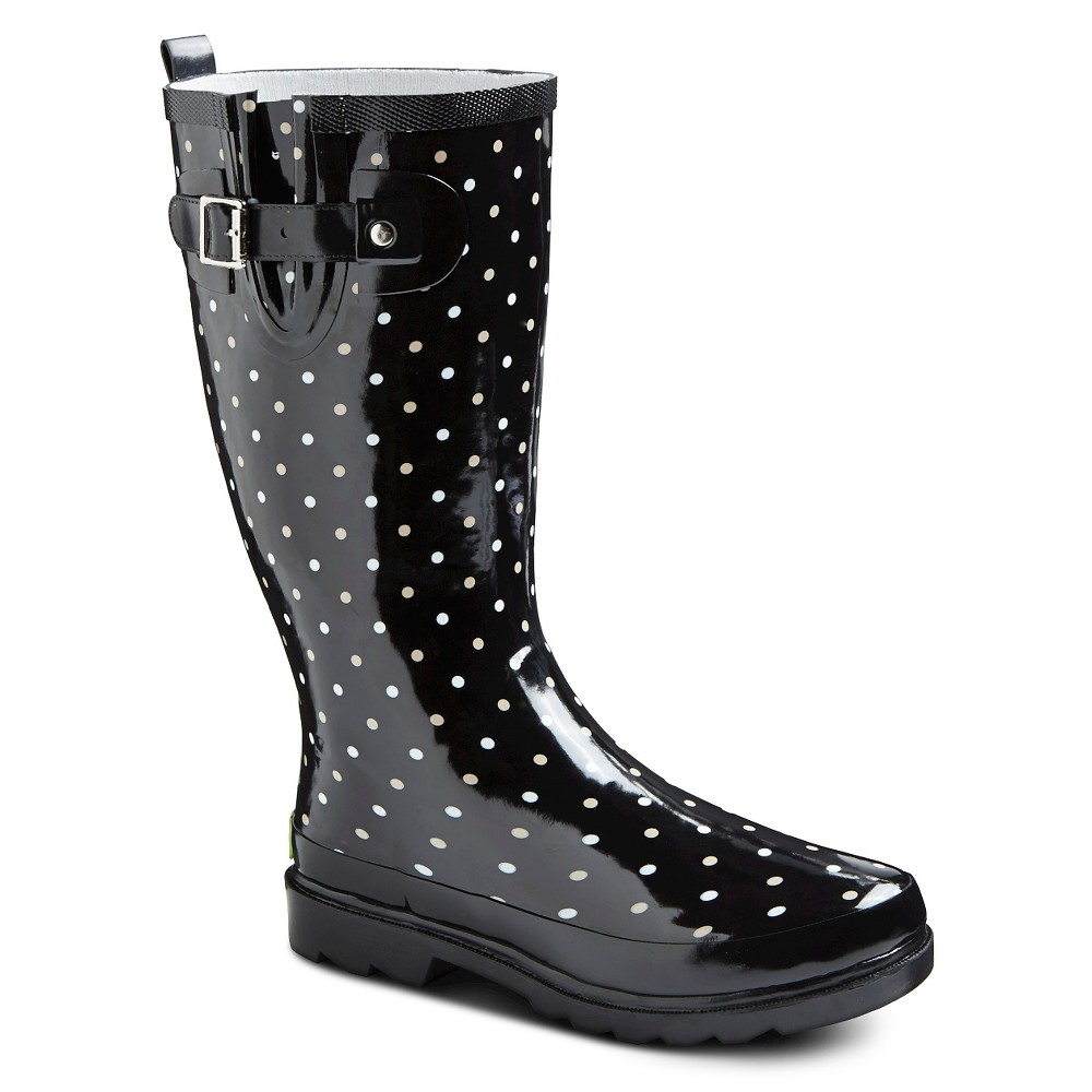 Western Chief Women's Polka Dot Rain Boots - Black 7