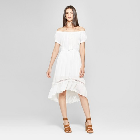 Women's Peasant Maxi Dress with Crochet Trim - Notations - White - image 1 of 2
