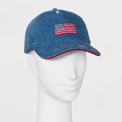 Women's Mad Love Americana Denim Flag Baseball Hat - Blue - image 1 of 2