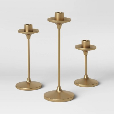"11"" x 4"" Set of 3 Tapers Cast Aluminum Candle Holder with Brass Finish Gold - Threshold™"