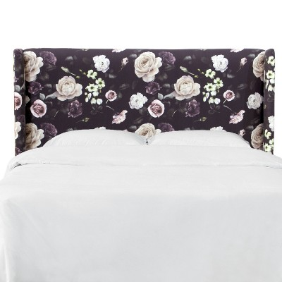 Wingback Headboard in Soft Tropical Floral Burgundy - Project 62™