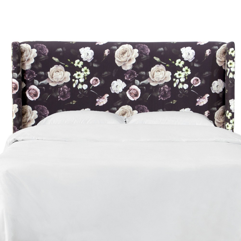 California King Wingback Headboard in Soft Tropical Floral Burgundy - Project 62, Black