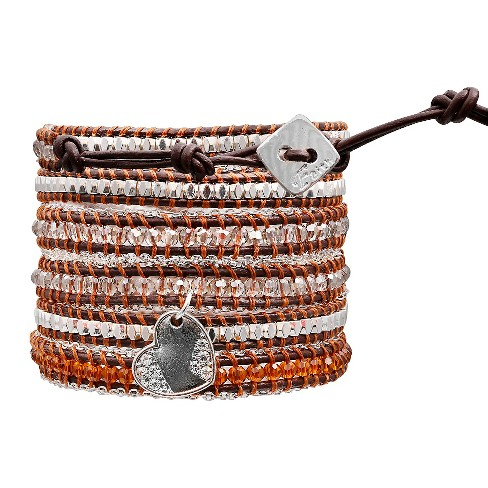 "Women's Wrap Fashion Bracelet with Beads - Brown and Gray (30"") - image 1 of 1"