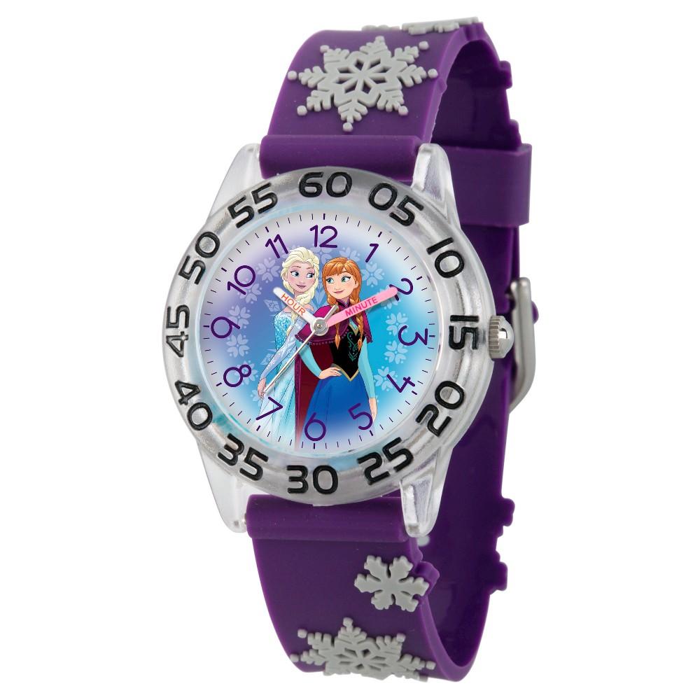 Image of Girls' Disney Frozen Elsa and Anna Clear Plastic Time Teacher Watch - Purple