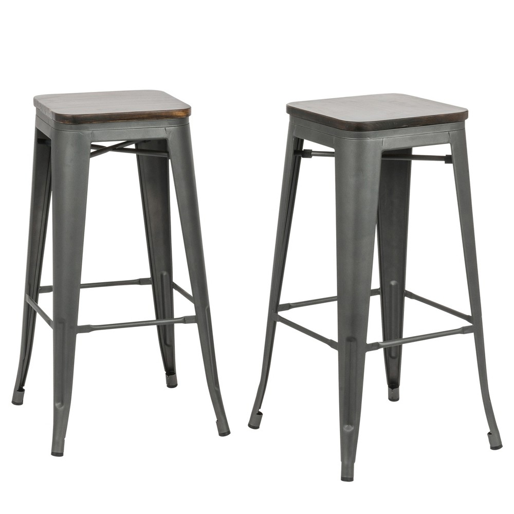 30 Emil Square Counter Stool Set of 2 Rustic Pewter - Carolina Chair and Table