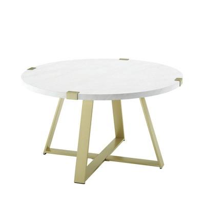 "30"" Round Urban Industrial Wood and Steel Coffee Table - Saracina Home"