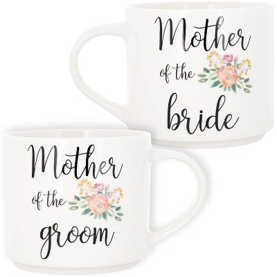 2-Pack Stackable Bone China Coffee Mug, Mother of the Groom/Bride, 15oz