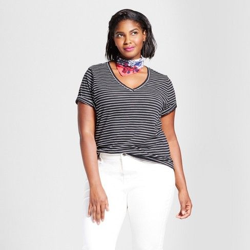 b7e011351a6 Women s Plus Size Striped V-Neck T-Shirt - Ava   Viv™ Black   Target