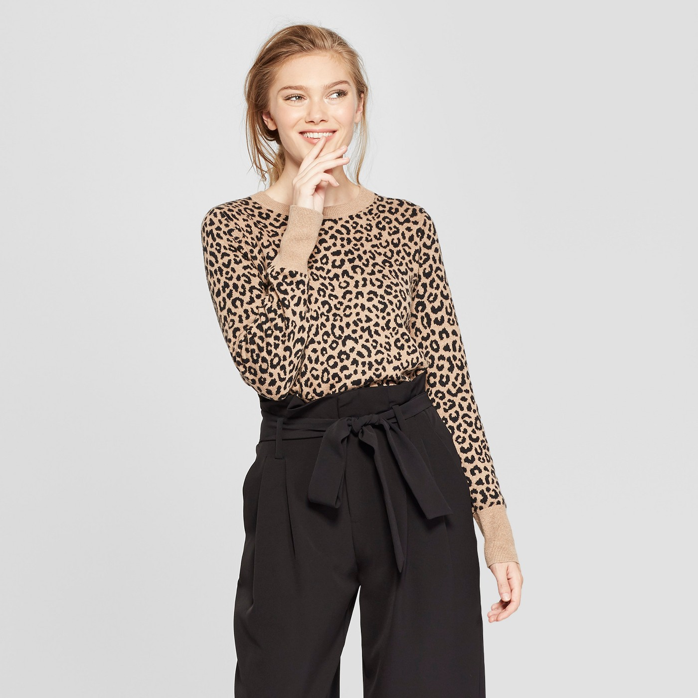 Women's Leopard Print Pullover Sweater - A New Day™ Camel - image 1 of 3