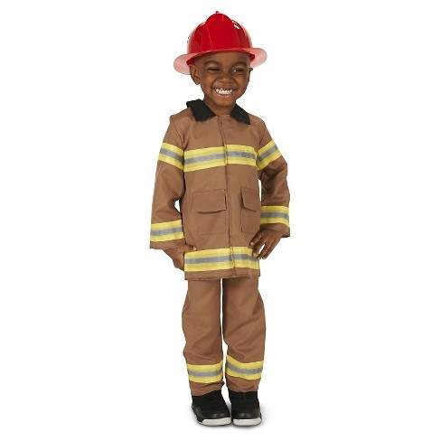Toddlers' Wee Little Firefighter with Helmet Costume Tan 2-4T - image 1 of 5