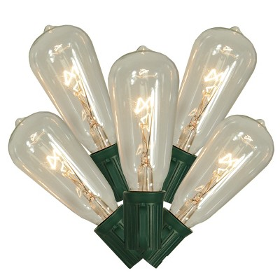 Vickerman 10ct Transparent ST40 Edison Style Christmas Lights Clear - 9' Green Wire