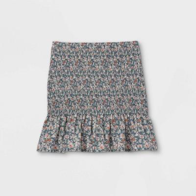 Girls' Smocked Ruffle Bottom A-Line Skirt - art class™ Gray