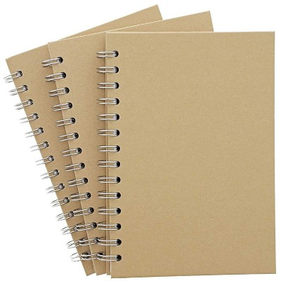 3 Packs Kraft Cover Spiral Unruled Notebooks Note Books Hardcover Sketch Book, 7.75 inches