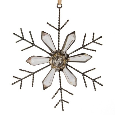 """Ganz 5"""" Rustic Jeweled Faceted Tip Snowflake Christmas Ornament - Bronze"""