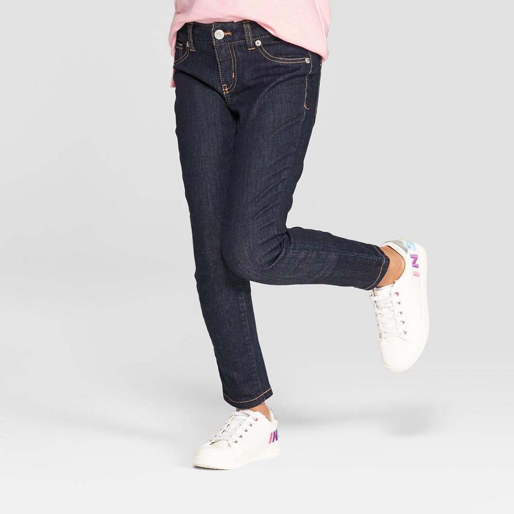 Girls' Super Skinny Jeans - Cat & Jack Dark Wash 6, Blue
