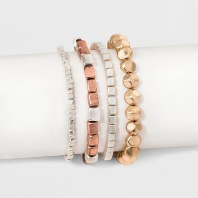 Multi Row Stretch with Cubed Shaped Beading Bracelet Set - Universal Thread™