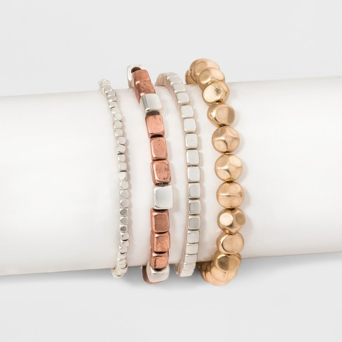 Multi Row Stretch with Cubed Shaped Beading Bracelet Set - Universal Thread™ - image 1 of 1