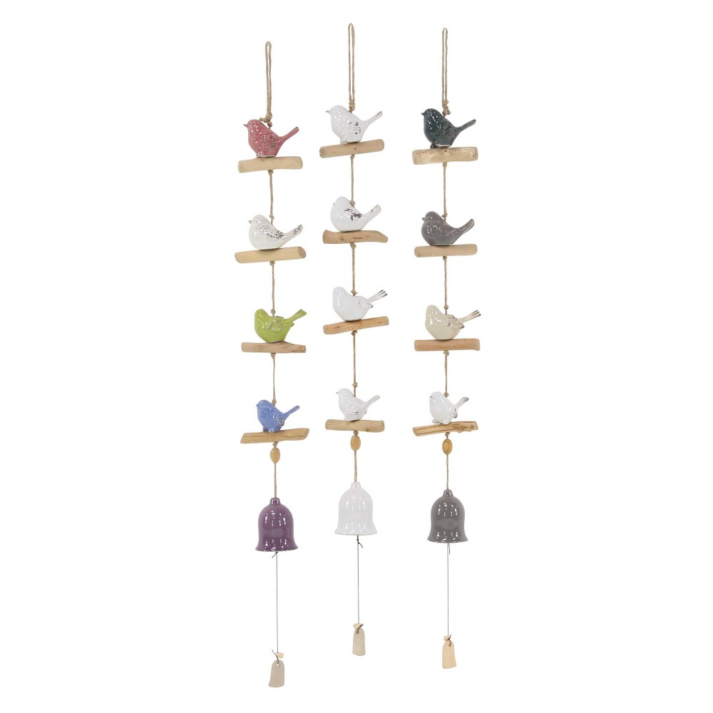 46H Ceramic Wind Chime - Brass - Olivia & May, Multi-Colored