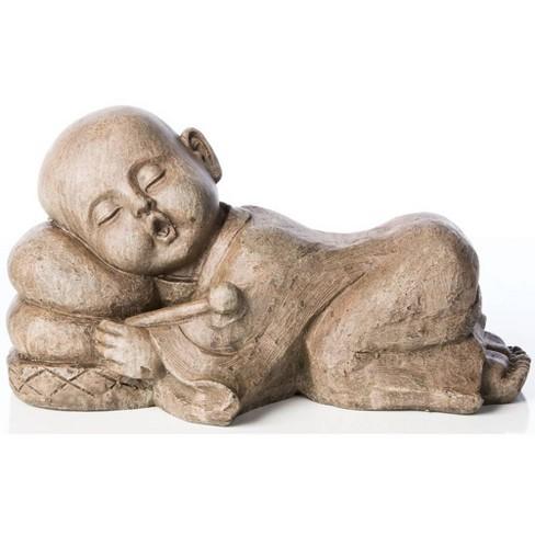 """9"""" Indoor/Outdoor Resin Sleepy Drummer Buddha Statue Brown - Alfresco Home LLC - image 1 of 1"""