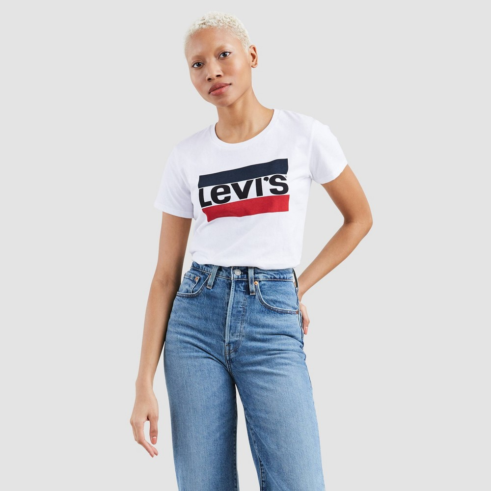 Levi 39 S 174 Women 39 S Perfect Short Sleeve Crewneck Graphic T Shirt Bright White L