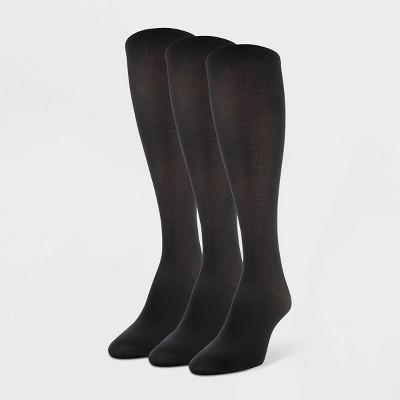 Women's Peds 3pk Light Opaque Trouser Socks - Black 5-10