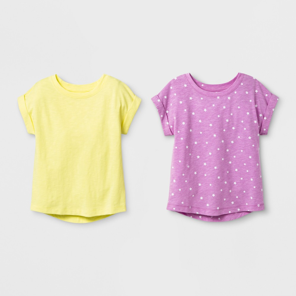 Toddler Girls' 2pk Cap Sleeve T-Shirt - Cat & Jack Violet/Yellow 12M, Purple