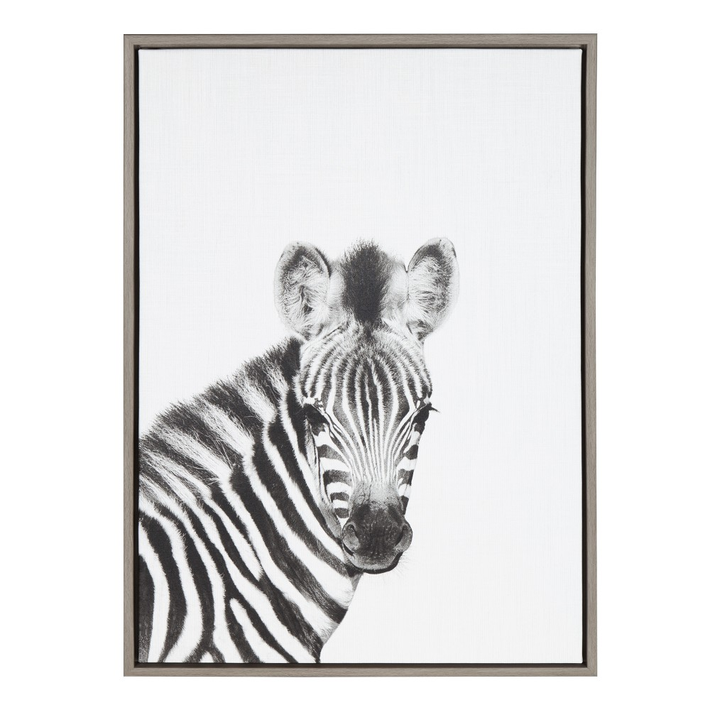 """Image of """"Kate & Laurel 24""""""""x18"""""""" Sylvie Baby Zebra And Portrait By Simon Te Tai Framed Wall Canvas Gray"""""""