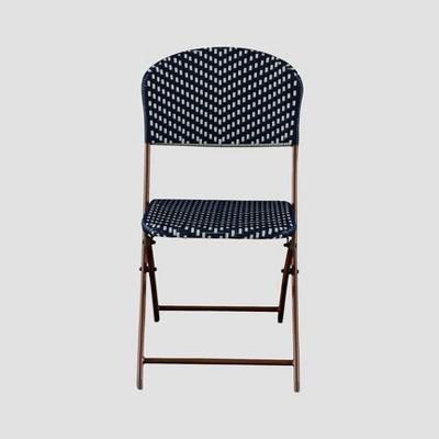 French Café Wicker Folding Patio Bistro Chair - Navy/White - Threshold™