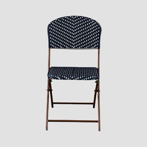 French Caf Wicker Folding Patio Bistro Chair - Navy/White - Threshold™ - image 1 of 4