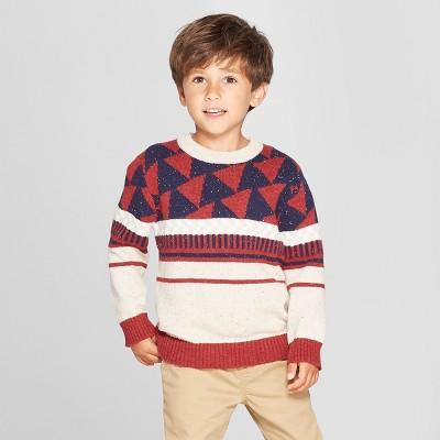 Toddler Boys' Crew Neck Geometric Pullover Sweater - Cat & Jack™ Oatmeal/Dark Red 12M