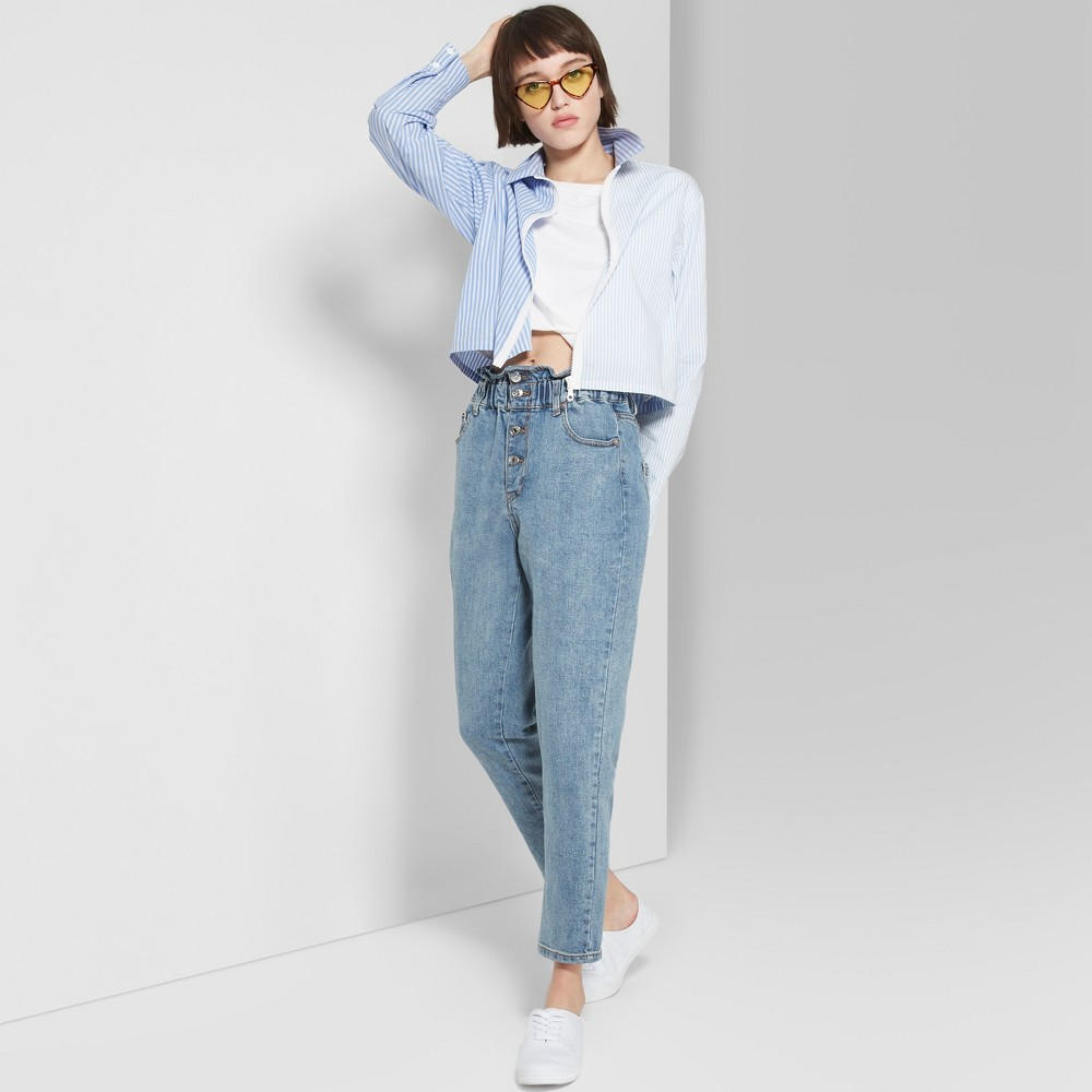 Women's High-Rise Elastic Waist Mom Jeans - Wild Fable Acid Wash Blue 0