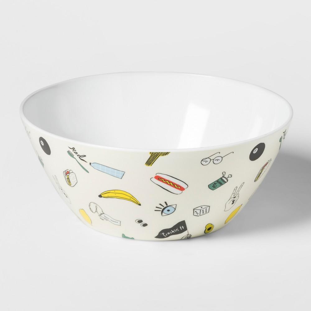 Round Plastic Serving Bowl 160oz Fleck Pattern White - Room Essentials