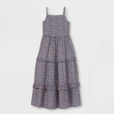 Girls' Floral Tiered Maxi Dress - Cat & Jack™ Gray