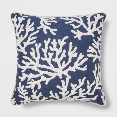 Embroidered Coral Square Throw Pillow Blue - Threshold™