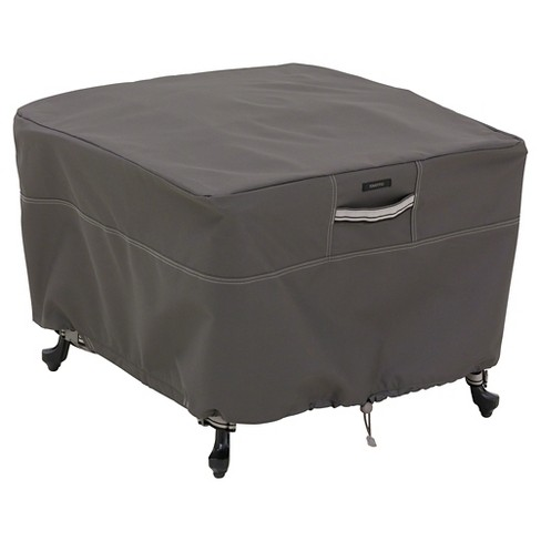 Ravenna Large Square Patio Ottoman Side Table Cover Dark Taupe Clic Accessories