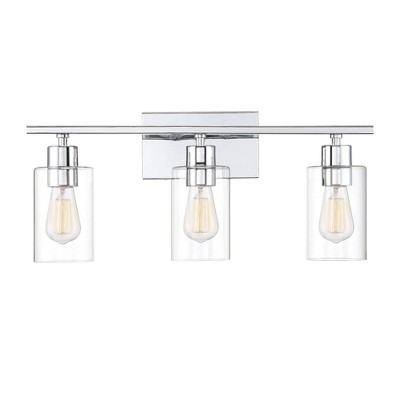 3 Light Bath Sconce With Clear Glass Polished Chrome Aurora Lighting Target