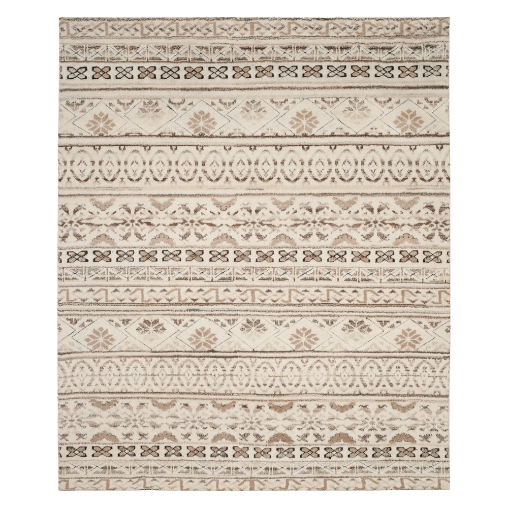 9'X12' Tribal Design Knotted Area Rug Natural - Safavieh, White