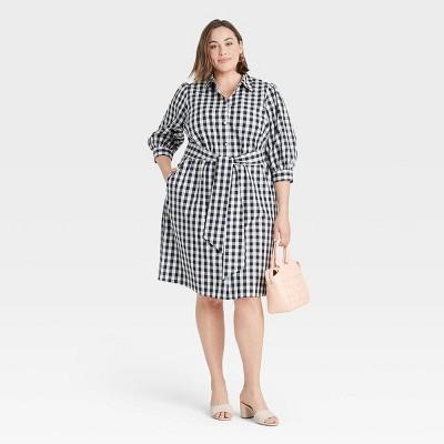 Women's Plus Size Long Sleeve Poplin Shirtdress - Ava & Viv™