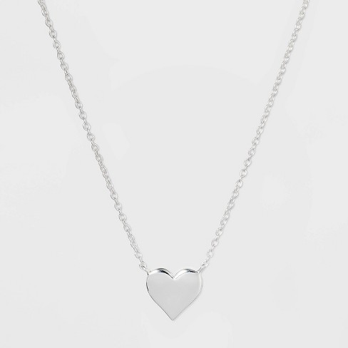 Sterling Silver Heart Necklace - Silver - image 1 of 2