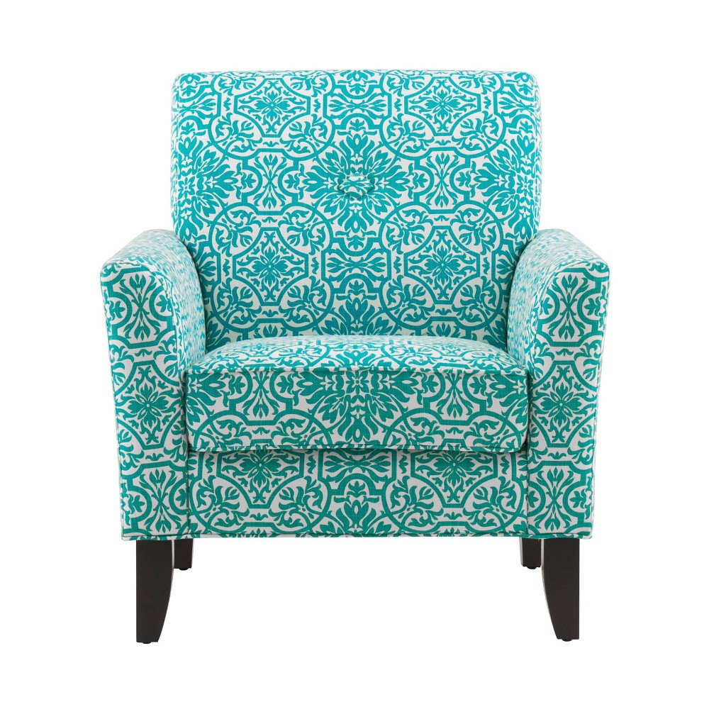 Image of Adrian Arm Chair Damask Turquoise Blue - Handy Living