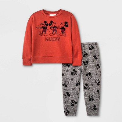 Toddler Boys' Mickey Mouse Fleece Top and Bottom Set - Brown