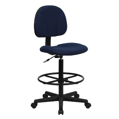 Ergonomic Drafting Chair Adjustable Navy Blue - Flash Furniture