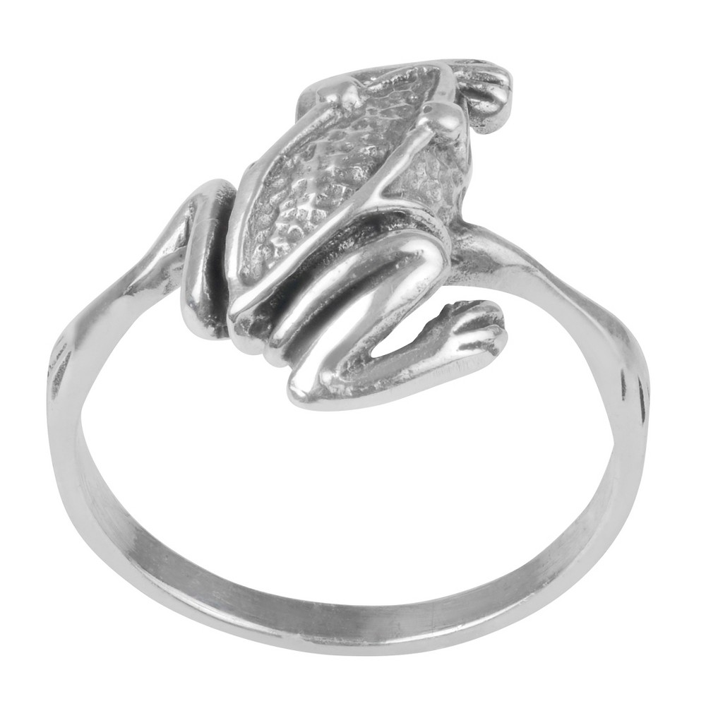 Women's Journee Collection Textured Frog Ring in Sterling Silver - Silver, 6