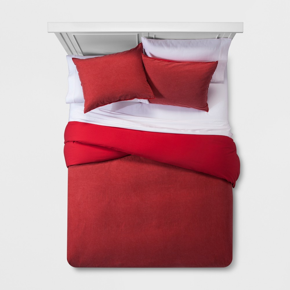 Red Washed Linen Blend Duvet Cover Set (Full/Queen) - Project 62 + Nate Berkus was $79.99 now $39.99 (50.0% off)