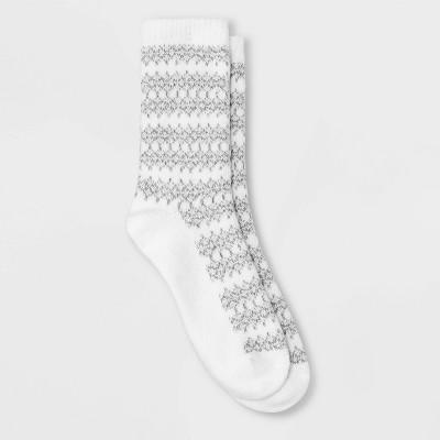 Warm Essentials by Cuddl Duds Women's Fair Isle Geo Crew Socks - 4-10