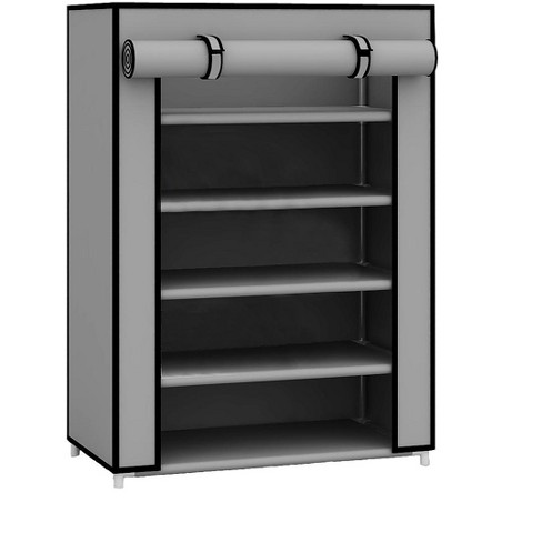 Home Basics 5 Tier Quick Set Up Portable Free-Standing Wardrobe 12 Pair Shoe Cabinet Closet Organizer with Fabric Shelves and Roll-Down Cover, Grey - image 1 of 4